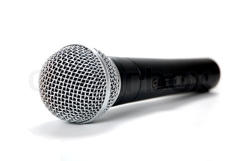 Black Microphone on White Background